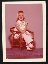 Vintage Photograph Adorable Little Girl Sitting in Small Chair
