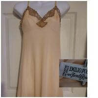 60's Vintage Nightgown Slip Emilio Pucci Formfit Rogers Peach Crepeset Lace 34