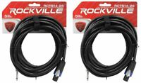 """2 Rockville RCTS1425 25' 14 AWG 1/4"""" TS to Speakon Pro Speaker Cable 100% Copper"""