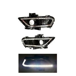 For Ford Fusion Mondeo 2014-2016 Black Bumper DRL LED Lamp Bezel Cover Fog Light