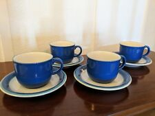 Cups & Saucers/ Ceramic White w Blue & Turquoise Trim/ Coffee Tea Mugs/ Kitchen