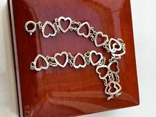 Pulsera de plata esterlina 925 Corazones Amor 19 cm de longitud