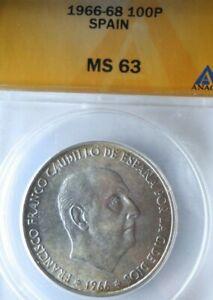1966 (68) SPAIN 100 PESETAS - ANACS MS63 - High Value Silver Coin - Lot #J20