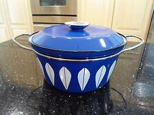 "Vintage MCM Cathrineholm Blue Enamel White Lotus Lidded Pot 8 1/2"""
