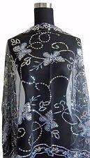 Elegant Oblong Lace Butterfly Art Scarf Wrap w/ Sequin Black/White