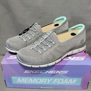 SKECHERS MEMORY FOAM Women's slip on gray MORE PLAYFUL stretch shoe size 9 M New