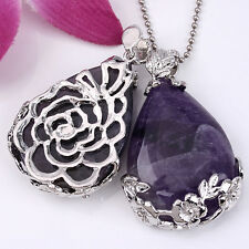Natural Amethyst Gemstone Teardrop Flower Wrap Clip Chakra Pendant For Necklace