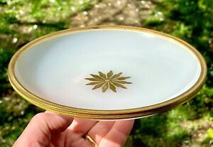French Ormolu Banded Opaline Glass Console Dish Bowl