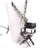Halskette Silber Anhänger 925, Brüniert Matt, Stuhl Die Filmer, Kette Rolo