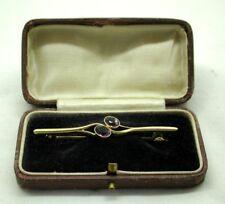 Antique Lovely 15 Carat Gold And Amethyst Bar Brooch In Original Box