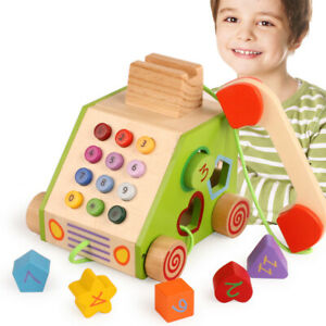 3 in 1 Wooden Pretend Play Pull Along Telephone Kids Learning Toy Gift