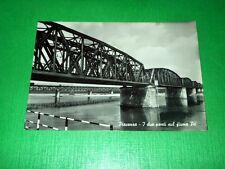 Cartolina Piacenza - I due ponti sul fiume Po 1955 ca