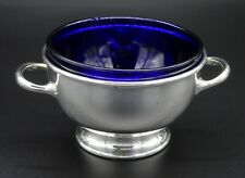HEAVY SILVER PLATED TWIN HANDLE BLUE COBLT LINER SWEET NUT TRINKET BASKET BOWL