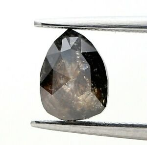 Big Natural Rustic Diamond 1.32Ct Brownish Gray Sparkling Pear Rose Cut for Gift