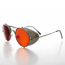 Gun Metal Steampunk Sunglass with Folding Side Shields Red Lens - Bram