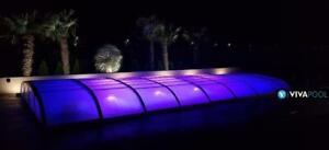 Abdeckung ELEGANT EVO 6 Pool Überdachung clear ANTHRAZIT Schwimmbadüberdachung