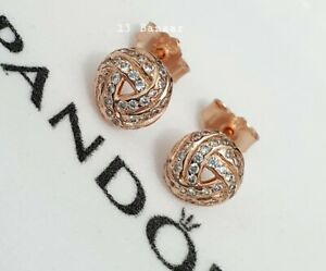 Genuine Pandora Shimmering Rose Gold Knot Stud Earrings + Gift Pouch ALE S925 uk