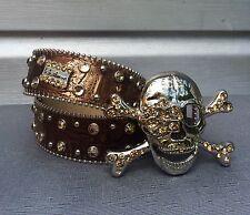 BB SIMON Bronze Metallic Swarovski Crystal Studded Rhinestone Pirate Skull Belt