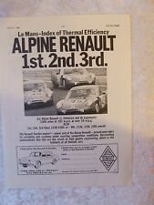 ALPINE RENAULT 1 2 3 AT LE MANS 1966  POSTER ADVERT READY FRAME A4 SIZE