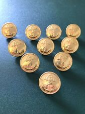 Lot of 10 Russian Navy Uniform Gold tone Metal Buttons 22 mm Anchor with Rope