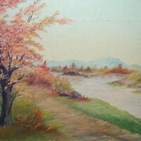 Antique Small Original Landscape Oil Painting on Board Autumn Scene 12.75 x 10