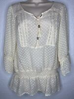 RXB Dotted Ivory Swiss Sheer Peasant Blouse Boho Top Sz L NEW NWT $68