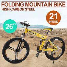 """26 """"a 3 razze Folding Mountain Bike 21 velocità Sospensione bicicletta,giallo"""