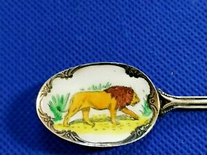 """Old rare Collection Svptd souvenir Spoon from Nairobi, Enamel paint  """"A Lion"""""""