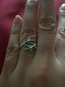 Sterling Silver 925 Marcasite Vine Ring Size 6.5