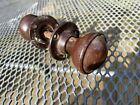 Reclaimed Pair Of walnut Bakelite Door Knobs round  For Rim Lock art deco brown