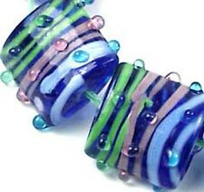 Lampwork Handmade Glass Square Pink Green Blue Ribbon beads (6)