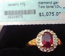 Garnet and Diamond Ring Size 7
