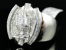 Mens White Gold Praying Hands Xl Diamond Ring .85 Ct