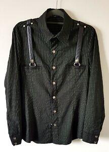 Lip Service Men's Size S/M Black Striped  Long Sleeve Snap Front Stretch Shirt