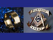 Masonic FURTHER LIGHT Lapel Pin & Freemason GP St. Steel Ring Size 10 or 11