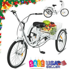 """24"""" Adult Tricycle 3-Wheel Trike Cruiser Bicycle w/Basket For Shopping Trike Us"""