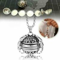 Expanding Photo Locket Necklace Silver Ball Angel Wing Pendant Memorial