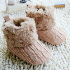 0-18M Baby Kids Girls Winter Warm Fleece Knit Snow Boots Booties Crib Shoes