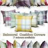 "Balmoral Check Cushion Cover Luxury Cotton Tartan Cushion Covers 17"" x 17"""