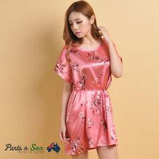 Womens Pink Floral Silk Feel Sleeveless Nightie Sleepwear Nightdress 8 10 AU