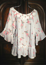 NEW Spring ~WHITE & PINK ROSES EMBROIDERY~ Peasant Blouse Top Shirt~ L LARGE
