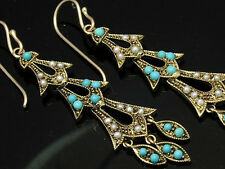 9ct Solid Gold Natural TURQUOISE & PEARL Earrings - LONG Chandelier style