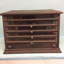 Antique 6 Drawer Walnut Spool Cabinet 22x16.5x15