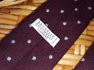 Men's Brunello Cucinelli Cashmere-Wool-Silk Knit Tie burgundy polka dot