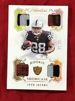 JOSH JACOBS ROOKIE 2019 FLAWLESS SHOWCASE 4 PATCH CARD 18/25 RAIDERS (MUST SEE)