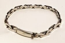 Vintage Sterling Silver Cuban Curb Chain Link Bracelet 7.5 Inches  23.7grams