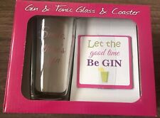 GIN AND TONIC GLASS AND COASTER SMILE THERE'S GIN BIRTHDAY IDEA GIFT PRESENT