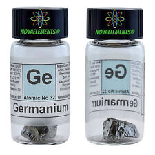 Germanium metal element 32 Ge sample crystal 1 gram 99,999% labeled glass vial