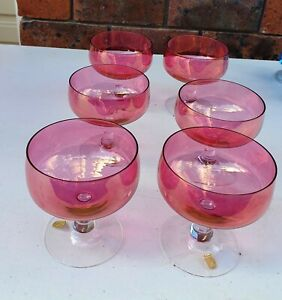 Set of 6 vintage cranberry glass champagne coupes by Johansfors Glass Sweden