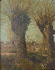 Paysage aux saules et au moulin Peinture 19e siècle signée Blanchard